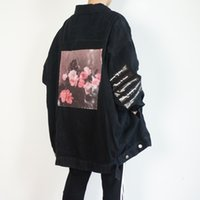 chaqueta de pasarela al por mayor-RAF SIMMONS 18ss DENIM JACKET camisa PVC CINTA ASAP ROCKY STYLE LOng JACKET Catwalk Mostrar producto envío gratis HFLSJK098