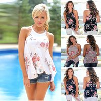 Wholesale sleeveless shirts for women - Floral Print Sleeveless T shirt for Women Tops Ladies Tees Halter Casual Summer T shirts Female T shirt Plus Size