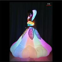 vêtements led pour femmes achat en gros de-Party Favors Inflatable women led dress RGB led costumes chanteur dj vêtements jupe programmable événement pour Event Party Supplies