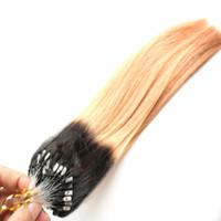 """cabelo encaracolado curly chinês venda por atacado-10 """"-26"""" 2018 NOVO Em Linha Reta Micro Loop Extensões de Cabelo Ombre Ombre Brasileiro Ombre Cabelo 100g T1B / 27 Cor Micro Loop Extensões de Cabelo"""
