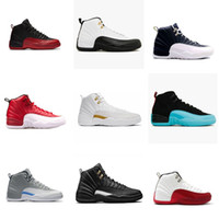 Wholesale Red Light Taxi - 2017 air retro 12 XII basketball shoes ovo white Flu Game GS Barons wolf grey Gym red taxi playoffs gamma french blue sneaker XZ68