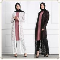 Wholesale white lace cardigan dress - Muslim Lace Open Abaya Full Dresses Cardigan Kimono Hollow Out Long Robe Gowns Jubah Middle East Ramadan Arab Islamic Clothing