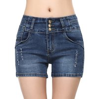 Wholesale Korean High Waist Jeans - Wholesale- Plus Size Hot High Waist Shorts Women Denim Shorts Femme Fashion Stretch Slim Korean Casual Women Short Jeans Bermuda Feminina