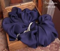 ingrosso pashminas blu-Echarpe foulard femme Square hijab 100% seta Solid Dark Blue Sciarpe e stole Winter Warm Pashminas poncho e mantelle