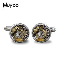 relojes del búho al por mayor-hecho a mano de la moda de la mancuerna de época Animals búho reloj de cristal de Steampunk cabujón bellas artes de alta calidad de la mancuerna de la joyería