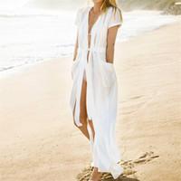 cubre bikini blanco al por mayor-Traje de baño de bolsillo Cover Up 2018 Verano Bikini blanco Cover Up Mujer Cardigan Pareo Beach Cover Up Long Beach Wear # Q364