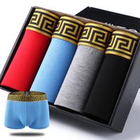 erkekler için marka boksör toptan satış-4 adet / grup erkek Iç Çamaşırı Yüksek Kalite 4 Renkler Seksi Pamuk Erkekler Boksörler Nefes Erkek Iç Çamaşırı Markalı Boksörler Logosu Iç Çamaşırı Erkek Boxer