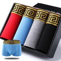 männlich xl großhandel-4 teile / los Männer Unterwäsche Hohe Qualität 4 Farben Sexy Baumwolle Männer Boxer Atmungsaktive Herren Unterwäsche Marken Boxer Logo Unterwäsche Männlichen Boxer