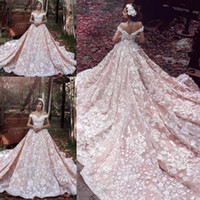 Wholesale Saab Wedding Dresses Sleeve - Elie Saab Off Shoulder Blush Church Train Wedding Dresses 3D Floral Handmade Flower Dubai Arabic Bridal Wedding Gowns High Quality