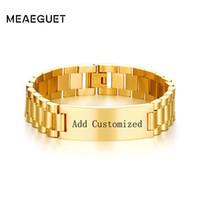 ingrosso nomi di catena di collegamento-Meaeguet Customized Laser Link Link Chain Braccialetto Braccialetto Trend 15.5mm in acciaio inossidabile Nome Pulseras Accessori