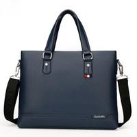 evrak çantası satışı toptan satış-Sıcak satış iş elbise shouler messenger çanta mavi dizüstü evrak çantası deri erkek çanta