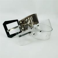 ingrosso uomini di abbigliamento trasparente-Gli uomini e le donne moda trasparente trasparente accessori per abbigliamento in plastica cintura, cintura trasparente, circa 100-135 cm