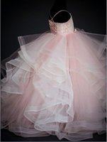 güzel balo elbisesi gelinlik toptan satış-Spagetti Balo Tül Katlı Kat Uzunluk Bow Lace Up Aplikler Yeni Coming Sevimli Pretty Düğün ELBISE Çiçek Kız Elbise