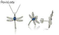 brincos de safira azul esterlina venda por atacado-Pavislady Real 925 Sterling Silver Dragonfly Brinco e Colar Conjuntos de Jóias Centro Azul Sapphire Fine Jewelry