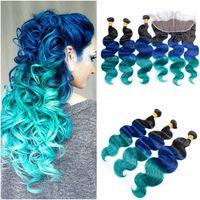 cabelo castanho virgem colorido venda por atacado-# 1B / Azul / Verde Ombre Virgem Feixes de Cabelo Humano Brasileiro com 13x4 Cheia Do Laço Frontal Encerramento Três Tons Coloridos de Cabelo Humano Tece