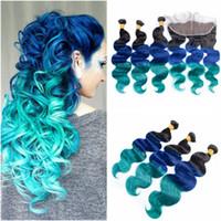 bakire brezilya saç mavisi toptan satış-# 1B / Mavi / Yeşil Ombre Bakire Brezilyalı İnsan Saç Demetleri ile 13x4 Tam Dantel Frontal Kapatma Üç Ton Renkli İnsan Saç Örgüleri
