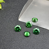 Synthetic Emerald Green Loose Stones Round 5-6.5mm Lab Creato Gemme Cubiche CZ Per Monili Che Fanno 500 pz / lotto