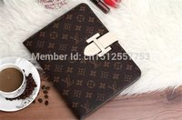 "Wholesale leather case fashion logo - For iPad 9.7"" 2017 Luxury Branded logo Grid Leather Flip Cover Case for iPad mini 4 Wallet Flip cover for iPad Air 1 2 with card holder"
