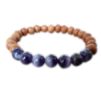 Wholesale sandalwood bracelet mala online - 12pcs Sandalwood bracelet mala amethyst power bracelet wood meditation amethyst bracelet healing yoga jewelry gift for her
