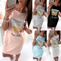 Wholesale plus size batwing - Women Dress Bronzing Pocket O Neck Letters Print Casual Plus Size S- 3XL Summer Short Sleeve Europen American Fashion Clothes