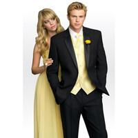 черные свадебные костюмы для женихов оптовых-New Grooms Tuxedos Black Wedding Suits For Men With Yellow Vest Notched Lapel Mens Suit 2017 Groom Men Wedding Suits