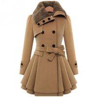 Wholesale Fur Collar Trench - women winter autumn trench coat Fur Collar woolen coat double breasted long sleeve belt red slim womens khaki trench coat