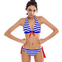 Wholesale brazillian swimwear - Sexy Bikinis Women Swimsuit Swimwear Halter Top Plaid Brazillian Bikini Set Bathing Suit Summer Beach Wear Biquini