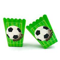decoraciones del partido de fútbol al por mayor-6 unids / set Fútbol Niños Suministros de Fiesta de Cumpleaños Palomitas de Maíz Caja de Cumpleaños de Fútbol Accesorio Del Partido Niños Decoración