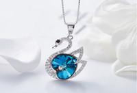 yüksek uçlu kristal kolye toptan satış-Prebeauty high end süper sevimli s925 gümüş kuğu kolye kolye Swarovski eleman Kristal takı kadınlar doğum günü hediyesi