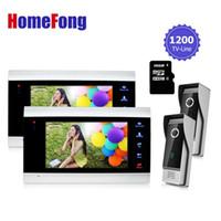 video card imágenes al por mayor-Telefono de la puerta de video de Homefong Grabe el sistema de intercomunicador Kit 2 monitores 2 timbre de la cámara Intercomunicador de 16GB Tarjeta SD / video