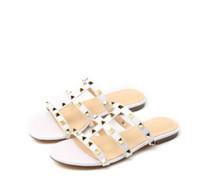 basit terlik toptan satış-Kadınlar Flats terlik En kaliteli Moda Hakiki Deri Lüks Metal perçinler yaz Seksi akım klasik Asil sevimli Basit Terlik