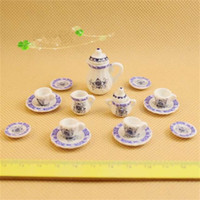 Wholesale wooden doll set - 1:12 Doll House Ornament Chinese Tea Set Mini Realistic And Delicate Miniature Porcelain Toys For Kids 13 86wd WW