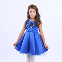 red blue pageant dresses Australia - Girls Dress Baby Girl princess Dress Child Red & Blue Embroidery Flower Tutu Dress Kids Pageant Party Dresses Girls clothes Wholesale