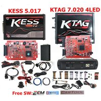 Wholesale Car Ecu - New 4LED KTAG V7.020 Red PCB EU Online Version KESS 5.017 SW2.23 Chip Tuning Works Cars Trucks DHL Shipping