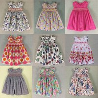 Wholesale mid calf length skirts - Baby Dresses With Pink Floral Girls Beach Dress The Little Baby Girls Cute Dress Girls England Style Skirt Outside Clothes 2016 New Summer