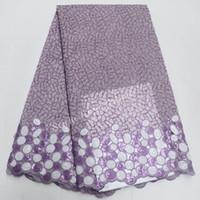 robes en paillettes achat en gros de-Lilas Glitter Sequin Paillette tissu africain en dentelle d'organza Double Net de haute qualité avec des pierres pour la robe de soirée IG108