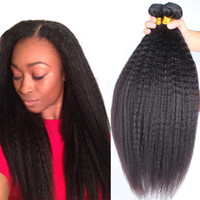 Wholesale chinese remy kinky straight hair for sale - Group buy Brazilian Kinky Straight Bundles Full Head Unprocessed Virgin Remy Human Hair Weaves Extensions Natural Black Color
