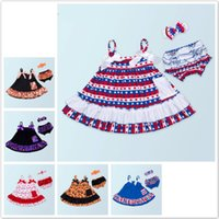 Wholesale baby xmas costumes - INS Baby Girl Clothes 3pcs Set Sling Dresses Romper+Briefs +Headbands Fashion 2018 Kids Girls Clothing Independence Day Red Xmas Costume