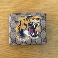 Wholesale leather men wallet pattern - New Fashion High Quality Famous Brand Real Leather Men And Women Short Wallet Printing Animal Pattern Luxury Wallets