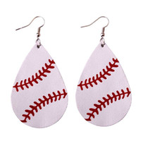 Wholesale golf plates - 2018 New Trendy Softball Baseball Soccer Golf Genuine Leather Teardrop Round Leaf Statement Earrings Round Disc Leather Drop Earrings