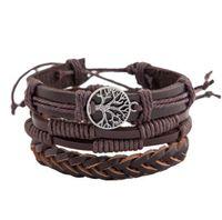Wholesale braided bead cord bracelet - DHL Multilayer vintage Wrap Bracelets Men Women friendship braid Cords Wood Beads Ethnic Tribal Bracelets Leather Wristbands