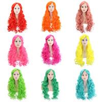 yeşil peruk uzun saç toptan satış-28