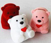 ingrosso scatole regalo dei monili di rosa del velluto-34.5 * 43 * 32mm Nuova scatola dell'orecchino della scatola dell'anello di velluto, disegno rosso, rosa, colore bianco del regalo dell'esposizione dei gioielli di colore dell'orso