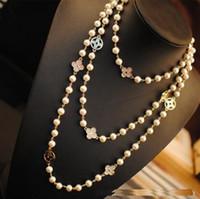 freie perlen großhandel-blatt luxus designer freie dame schmuck berühmte marke neckless lange halskette collares frauen pullover perlen