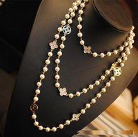ingrosso perla della collana di disegno dei monili-gioielli di design di lusso foglia signora gioielli famosi collana lunga neckless collares donne maglione perle