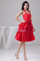 Wholesale gown brooch design resale online - design hot sale handmade bow beach fashion bridal gown halter custom size color short red Bridesmaid Dress