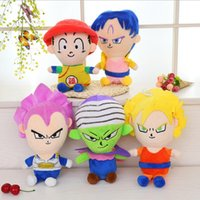 Wholesale dragon ball son goku - 5 Styles 27cm Dragon Ball Z Plush Toys Son Goku Son Gohan Vegeta Dragon Ball Plush Pendant Toys Figure Dolls CCA6917 50pcs