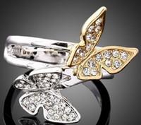 asiatische mädchen mode großhandel-Neue Ankunft Männer Frauen Modeschmuck Schmetterling Diamant Ring Ehemann Jungen Vater Mädchen Festival Geschenk Weihnachten Geburtstag