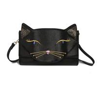 kedi clutch çanta toptan satış-Sevimli Kedi Bayan Omuz Çantası Kadın Mini Deri Crossbody Messenger Çanta Moda Debriyaj Çanta 2017 Yeni Moda