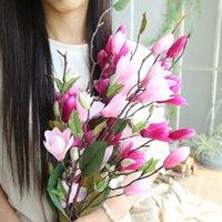 manolya dekor toptan satış-LIN ADAM 76 cm Uzun Manolya Şube İpek Artficial Çiçek Simülasyon Çiçekler Düğün Parti Dekor DIY Ev Dekorasyon Hediyeler
